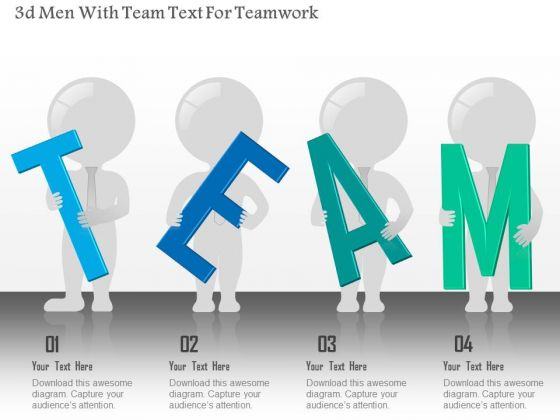Business Diagram 3d Men With Team Text For Teamwork Presentation Template