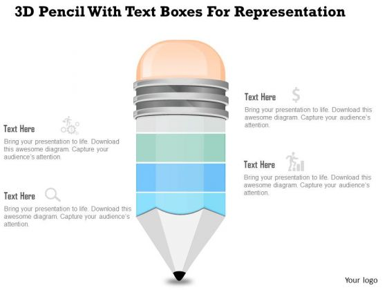 Business Diagram 3d Pencil With Text Boxes For Representation PowerPoint Slide