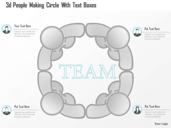 Business Diagram 3d People Making Circle With Text Boxes Presentation Template