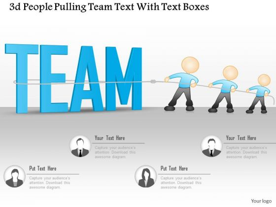 business diagram 3d people pulling team text with text boxes, Powerpoint templates