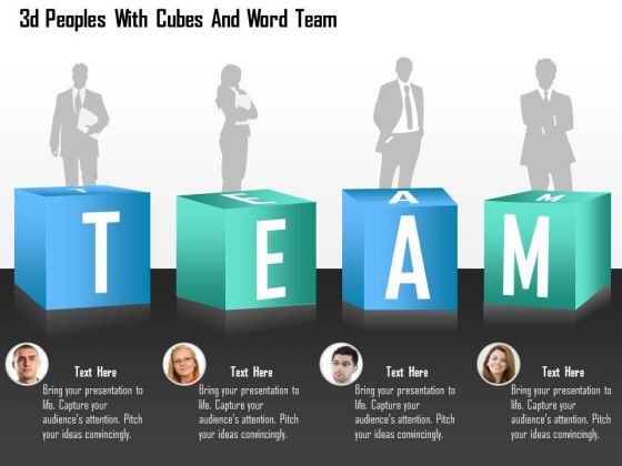 Business Diagram 3d Peoples With Cubes And Word Team Presentation Template