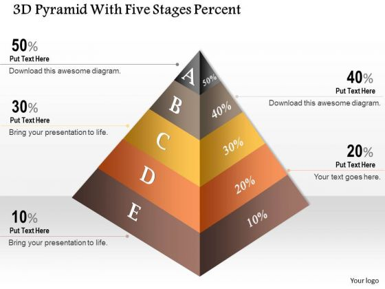 Business Diagram 3d Pyramid With Five Stages Percent Presentation Template
