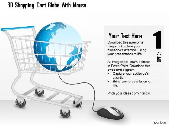 Business Diagram 3d Shopping Cart Globe With Mouse PowerPoint Template