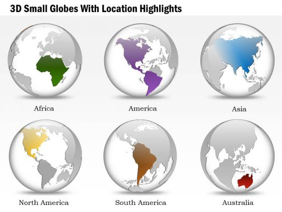 Business Diagram 3d Small Globes With Location Highlights Presentation Template