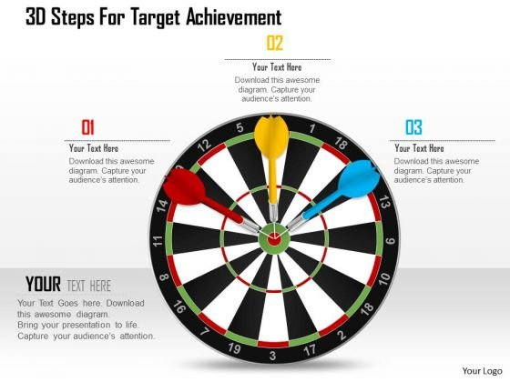 Business Diagram 3d Steps For Target Achievement Presentation Template