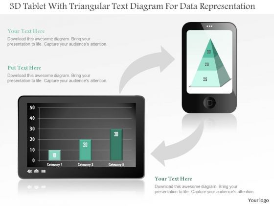 Business Diagram 3d Tablet With Triangular Text Diagram For Data Representation PowerPoint Slide