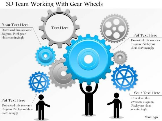 Business Diagram 3d Team Working With Gear Wheels Presentation Template