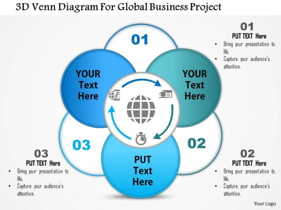 business diagram 3d venn diagram for global business project, Powerpoint templates