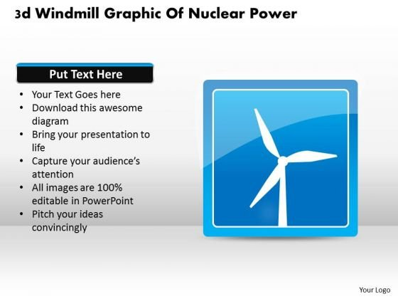 Business Diagram 3d Windmill Graphic Of Nuclear Power Presentation Template