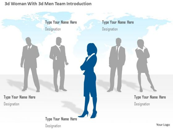 Business Diagram 3d Woman With 3d Men Team Introduction Presentation Template