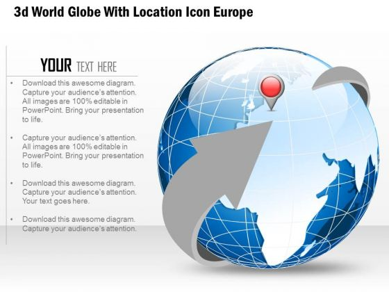 Business Diagram 3d World Globe With Location Icon Europe Presentation Template