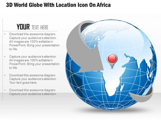 Business Diagram 3d World Globe With Location Icon On Africa Presentation Template