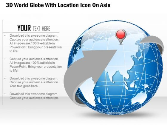 Business Diagram 3d World Globe With Location Icon On Asia Presentation Template