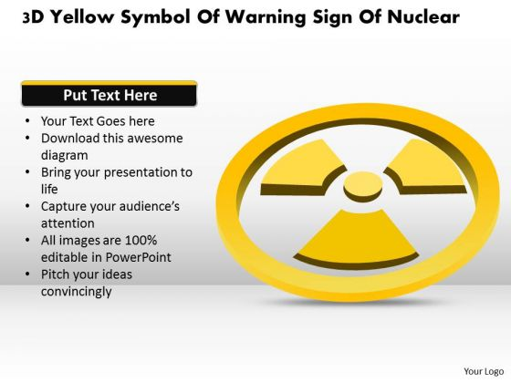 Business Diagram 3d Yellow Symbol Of Warning Sign Of Nuclear Presentation Template