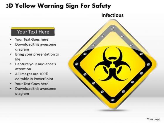 Business Diagram 3d Yellow Warning Sign For Safety Presentation Template