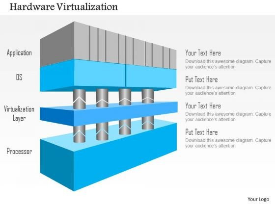 Business Diagram 4 Layers Of Hardware Virtualization Application Os Hypervisor And Cpu Ppt Slide