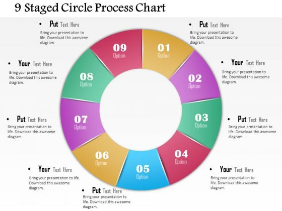 Business Diagram 9 Staged Circle Process Chart Presentationtemplate