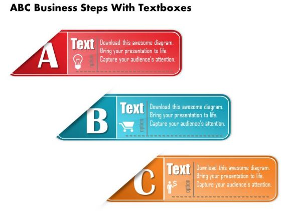 Business Diagram Abc Business Steps With Textboxes Presentation Template