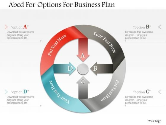 Business Diagram Abcd For Options For Business Plan Presentation Template