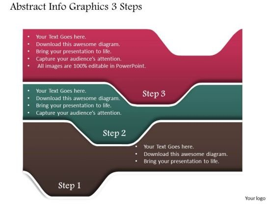 Business Diagram Abstract Info Graphics 3 Steps Presentation Template