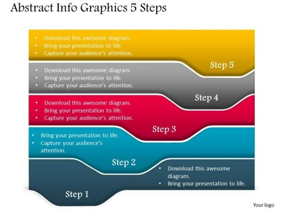 Business Diagram Abstract Info Graphics 5 Steps Presentation Template