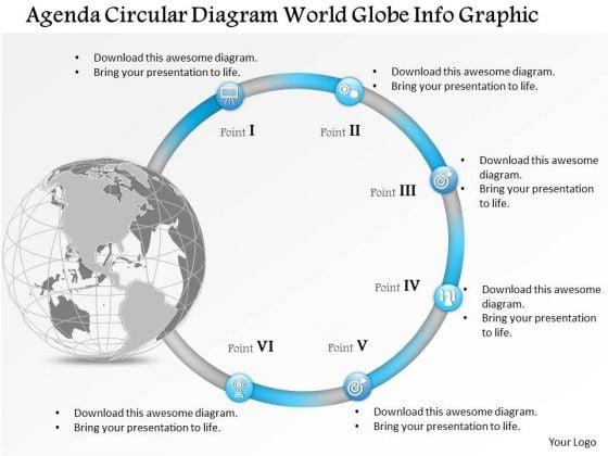 Business Diagram Agenda Circular Diagram World Globe Info Graphic Presentation Template