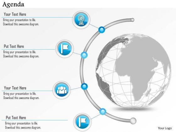 Business Diagram Agenda Diagram Semi Circle Line Icons Presentation Template