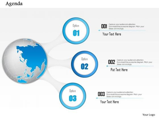 Business Diagram Agenda Diagram With Globe And Three Icon Points Presentation Template