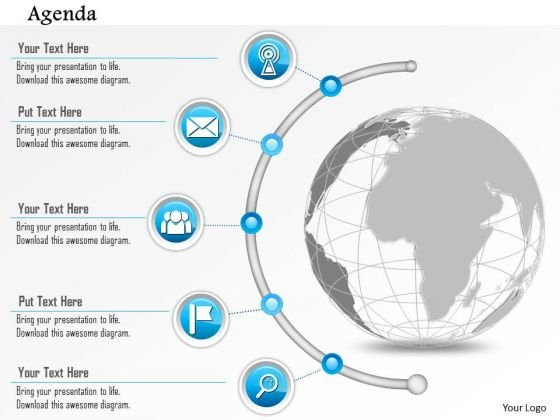 Business Diagram Agenda Globe With Semi Circle Timeline Icons Presentation Template