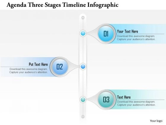 Business Diagram Agenda Three Stages Timeline Infographic Presentation Template