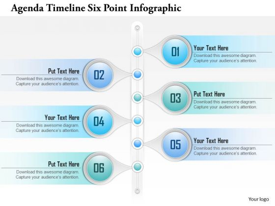 Business Diagram Agenda Timeline Six Point Infographict Presentation Template