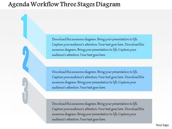 Business Diagram Agenda Workflow Three Stages Diagram Presentation Template