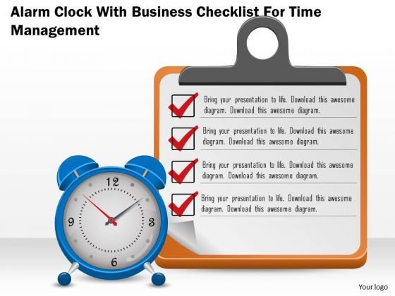Business Diagram Alarm Clock With Business Checklist For Time Management Presentation Template