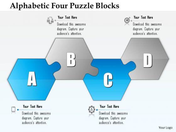 Business Diagram Alphabetic Four Puzzle Blocks Presentation Template
