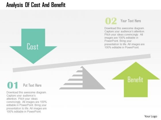 Business Diagram Analysis Of Cost And Benefit Presentation
