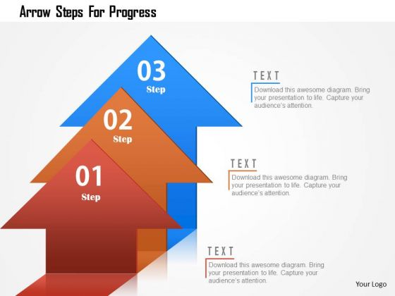 Business Diagram Arrow Steps For Progress Presentation Template