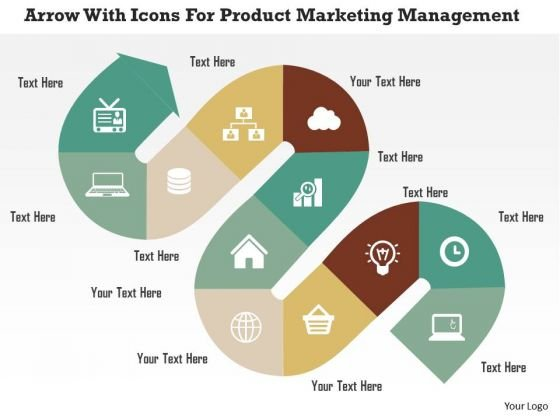 Business Diagram Arrow With Icons For Product Marketing Management Presentation Template