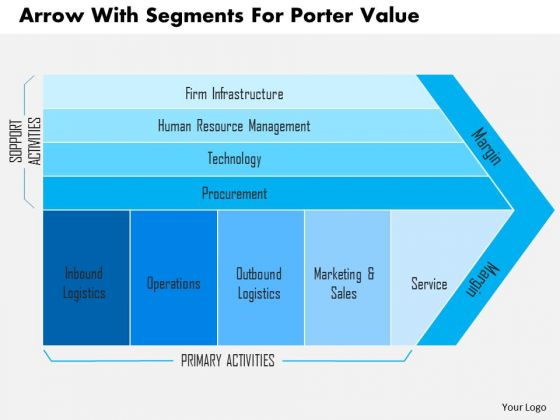 Business Diagram Arrow With Segments For Porter Value Presentation Template