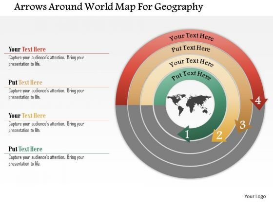 Business Diagram Arrows Around World Map For Geography Presentation Template