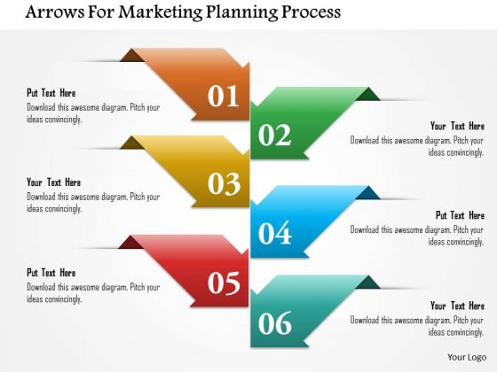 Business Diagram Arrows For Marketing Planning Process Presentation Template