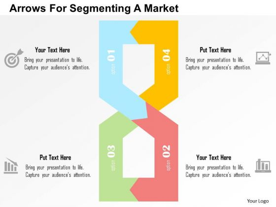 Business Diagram Arrows For Segmenting A Market Presentation Template