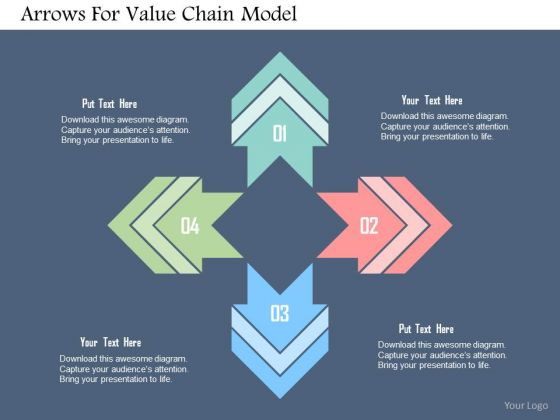 Business Diagram Arrows For Value Chain Model PowerPoint Templates
