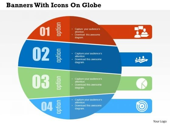 Business Diagram Banners With Icons On Globe Presentation Template