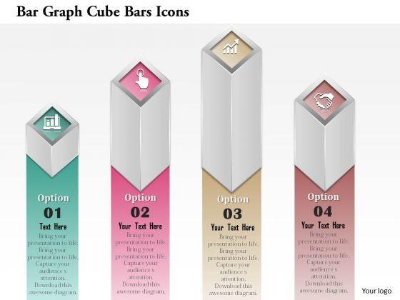 Business Diagram Bar Graph Cube Bars Icons Presentation Template