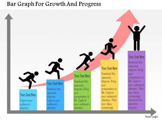 Business Diagram Bar Graph For Growth And Progress Presentation Template