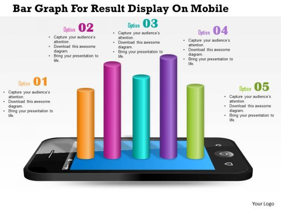 Business Diagram Bar Graph For Result Display On Mobile Presentation Template