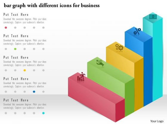 Business Diagram Bar Graph With Different Icons For Business Presentation Template