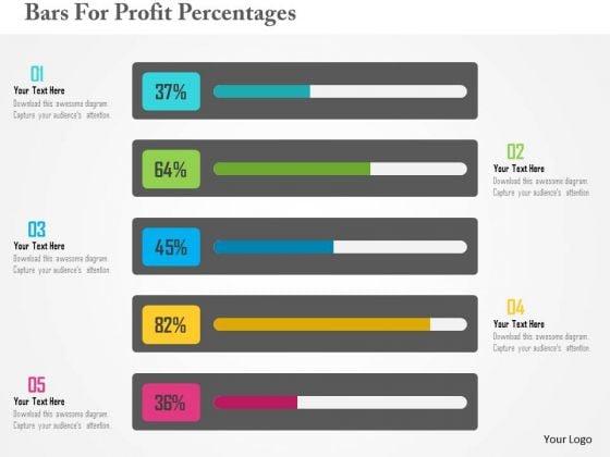 Business Diagram Bars For Profit Percentages Presentation Template