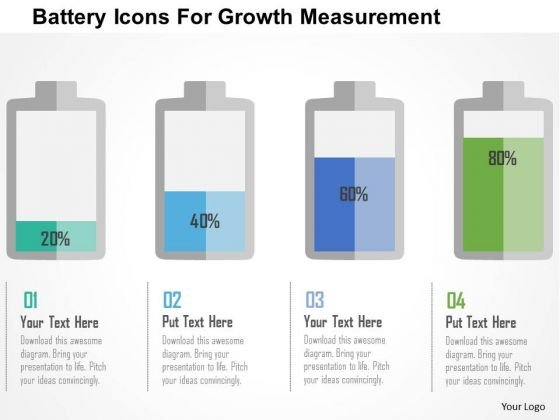 Business Diagram Battery Icons For Growth Measurement Presentation Template