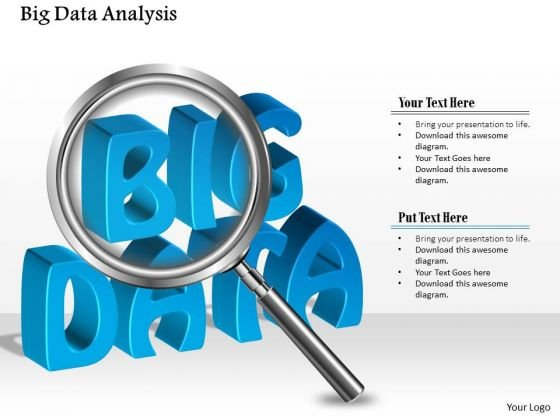 Business Diagram Big Data Analysis Using Magnifying Glass Analysis Ppt Slide